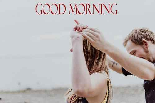 happy couple image with good morning